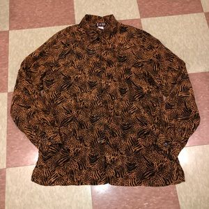 Vtg silk animal print button up blouse md
